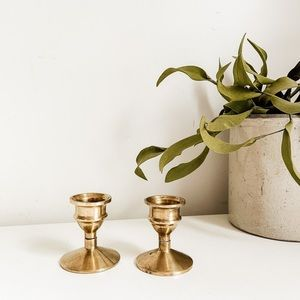 Set of 2 brass candlestick candle holders #3